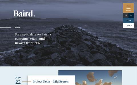 Screenshot of Press Page baird.com - News | Baird - captured Dec. 18, 2018
