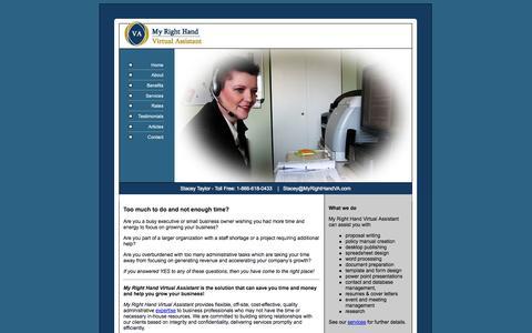 Screenshot of Home Page myrighthandva.com - My Right Hand Virtual Assistant - captured Oct. 8, 2014