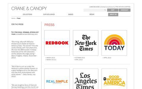 Screenshot of Press Page craneandcanopy.com - Press | Crane & Canopy - captured Sept. 23, 2014
