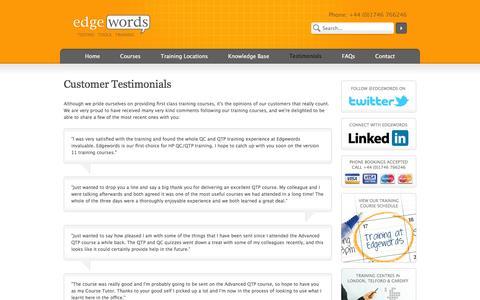 Screenshot of Testimonials Page edgewordstraining.co.uk - Customer Testimonials   Edgewords   Selenium, eggPlant, QTP UFT, Quality Center ALM & LoadRunner Training Courses - captured Oct. 2, 2014