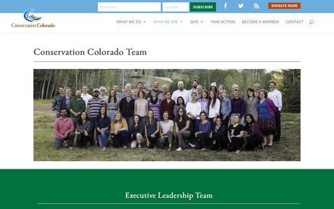 Screenshot of Team Page conservationco.org - Our Team - Conservation Colorado - captured Sept. 29, 2018