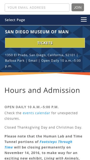 Screenshot of Pricing Page Hours Page  museumofman.org - Hours and Admission - San Diego Museum of Man