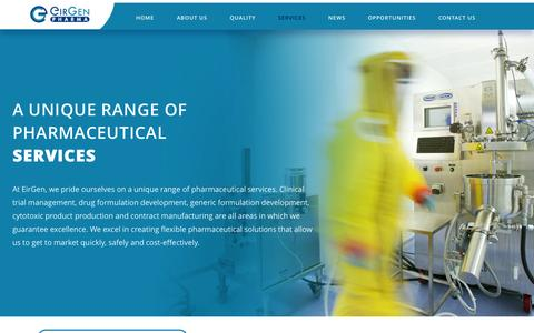 Screenshot of Services Page eirgen.com - EirGen Pharma |   Services - captured Nov. 1, 2014