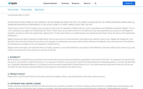 Screenshot of Terms Page ripplelabs.com - Terms of Use | Ripple - captured Oct. 24, 2019