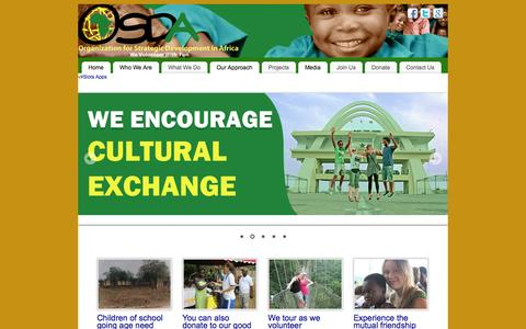 Screenshot of Home Page osdaworld.org - Organization for Strategic Development in Africa - Volunteer with fun - captured Oct. 1, 2014