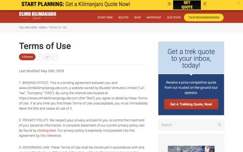 Screenshot of Terms Page climbkilimanjaroguide.com - Terms of Use - Climb Kilimanjaro Guide - captured July 19, 2018