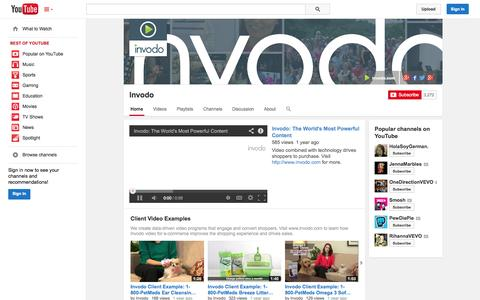 Screenshot of YouTube Page youtube.com - Invodo  - YouTube - captured Oct. 22, 2014