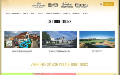 Screenshot of Maps & Directions Page zehnders.com - The Fortress Golf Course   Directions   Frankenmuth, MI   Zehnder's of Frankenmuth - captured Nov. 21, 2017
