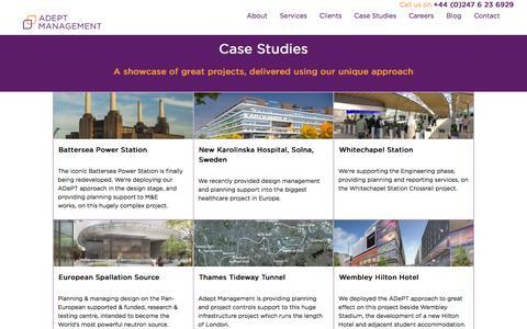 Screenshot of Case Studies Page adeptmanagement.com - Adept Management Ltd - Case Studies - captured Nov. 20, 2016