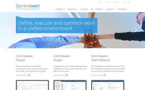 Screenshot of Home Page comindware.com - Comindware - Work Management Software - captured Sept. 19, 2014