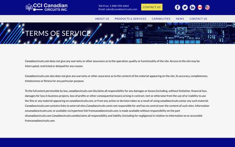 Screenshot of Terms Page canadiancircuits.com - | CCI Canadian Circuits - Terms of Service - captured Oct. 18, 2016