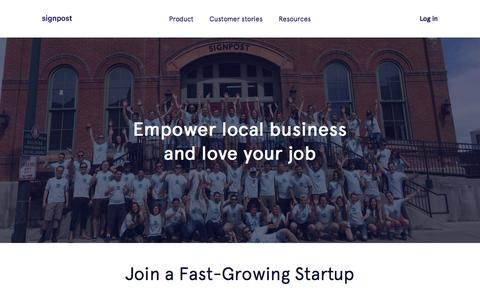 Screenshot of Jobs Page signpost.com - Careers: Empower Local Businesses And Love Your Job   Signpost - captured Feb. 4, 2017