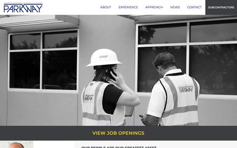 Screenshot of Jobs Page parkwayconstruction.com - Careers - Parkway Construction - captured Aug. 20, 2019