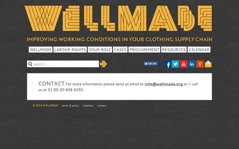 Screenshot of Contact Page wellmade.org - Contact - Wellmade - Improving working conditions in your clothing supply chain - captured Oct. 20, 2018