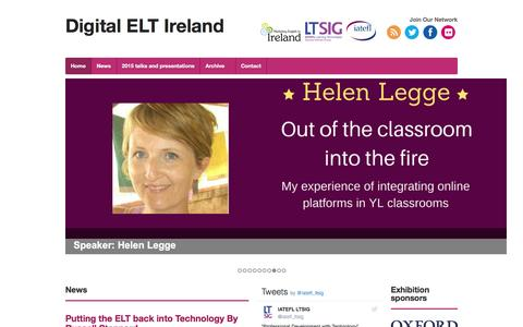 Screenshot of Home Page digital-elt.eu - Digital ELT Ireland - Ireland's digital ELT  conference - captured Jan. 29, 2017