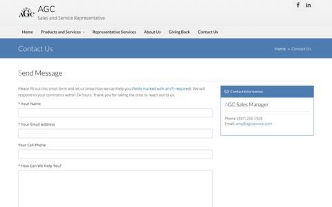 Screenshot of Contact Page agcservice.com - AGC Contact Us - captured Oct. 6, 2017