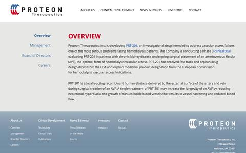 Screenshot of About Page proteontherapeutics.com - Overview | About Us | Proteon Therapeutics - captured Sept. 17, 2014