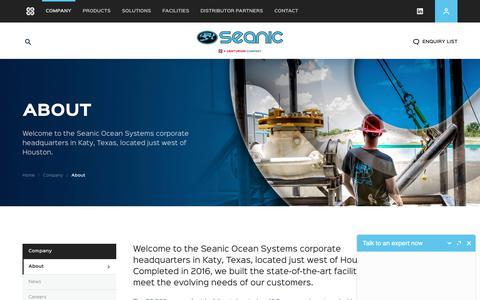 Screenshot of About Page seanicusa.com - Seanic Ocean Systems | About Seanic Ocean Systems - captured Sept. 24, 2018