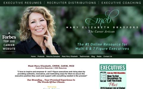 "Screenshot of About Page maryelizabethbradford.com - Career marketing expert and nationally certified advanced resume writer Mary Elizabeth Bradford is ""The Career Artisan."" - captured Jan. 23, 2016"