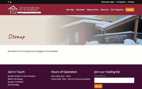 Screenshot of Site Map Page bouldershelter.org - Sitemap | Boulder Shelter - captured Sept. 24, 2018