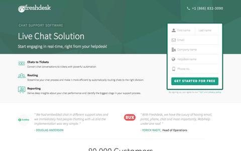 Screenshot of Landing Page freshdesk.com - Live Chat Software - captured Oct. 3, 2016