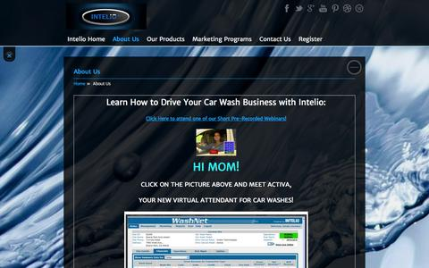 Screenshot of About Page intelio.com - Intelio Technologies Drive your business with Intelio Technologies     Leading developer of the WashMax remote management system and ActiVA Virtual Attendant activation unit (or coinbox) for car washes   car wash, oklahoma, clean car, tulsa, car wax, - captured Oct. 6, 2014