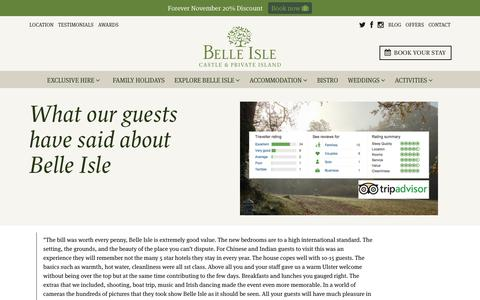 Screenshot of Testimonials Page belle-isle.com - Testimonials - Guest comments for Belle Isle Cottages and Castle rooms - captured Oct. 5, 2018