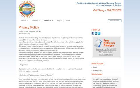 Screenshot of Privacy Page computersuperheroes.com - Privacy Policy - Computer Superheroes - captured July 20, 2018