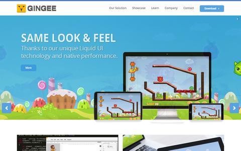 Screenshot of Home Page gingee.com - GINGEE   True Cross platform development solution - captured Jan. 23, 2015