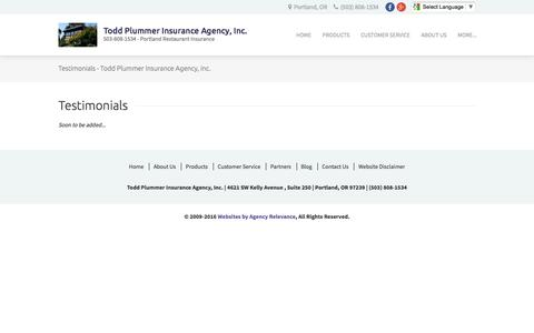 Screenshot of Testimonials Page toddplummeragency.com - Testimonials - Todd Plummer Insurance Agency, Inc. - captured Dec. 2, 2016