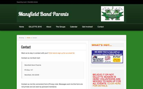 Screenshot of Contact Page mansfieldbandparents.org - Contact | Mansfield Band Parents - captured June 10, 2016