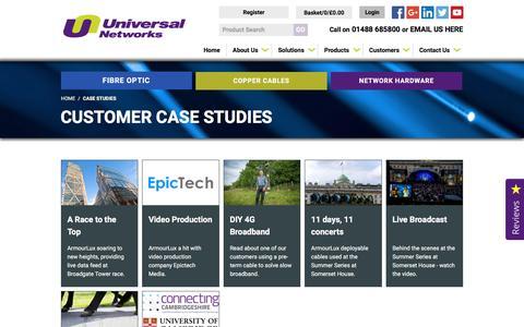 Screenshot of Case Studies Page universalnetworks.co.uk - Case Studies - captured Dec. 3, 2016