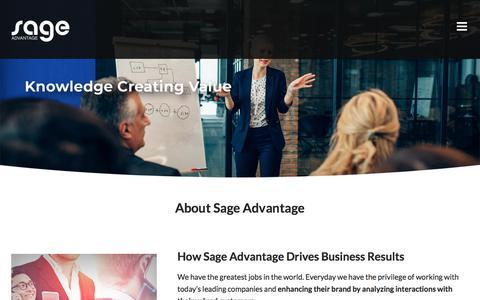 Screenshot of About Page sageadvantage.com - About Sage Advantage- your Third Party Quality Assurance & Call Center - captured Aug. 17, 2019