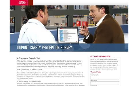 Screenshot of Landing Page dupont.com - DuPont Safety Perception Survey - captured Oct. 27, 2014