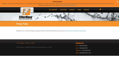 Screenshot of Privacy Page filterboxx.com - Privacy Policy - FilterBoxx Water & Environmental Corp. - captured Oct. 10, 2018