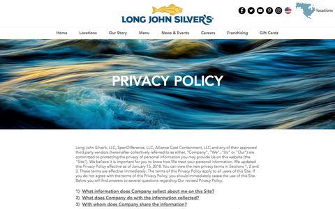 Screenshot of Privacy Page ljsilvers.com - ljsilvers | PRIVACY - captured Jan. 25, 2018