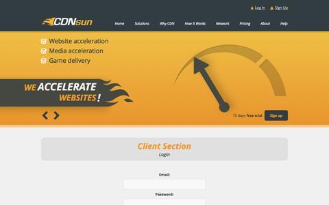 Screenshot of Login Page cdnsun.com - Client Section - Login | CDNsun - captured Sept. 23, 2014