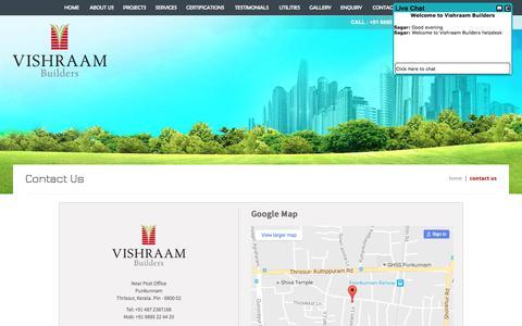 Screenshot of Contact Page vishraam.com - Builders in thrissur|Trichur|Guruvayur|Guruvayoor|Punkunnam|Thrissur|Kerala - captured Dec. 4, 2016