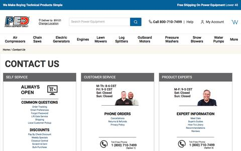Screenshot of Contact Page powerequipmentdirect.com - Contact Us @ Power Equipment Direct.com - Your Online Power Equipment Direct Superstore - Learn More about How to Contact Us - captured Feb. 12, 2020
