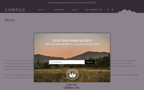 Screenshot of About Page compaslife.com - Compas Life Apparel About Us - captured July 9, 2018