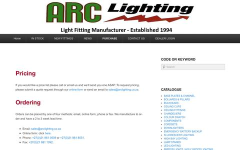 Screenshot of Pricing Page arclighting.co.za - Purchasing - ARC Lighting cc - captured July 26, 2016