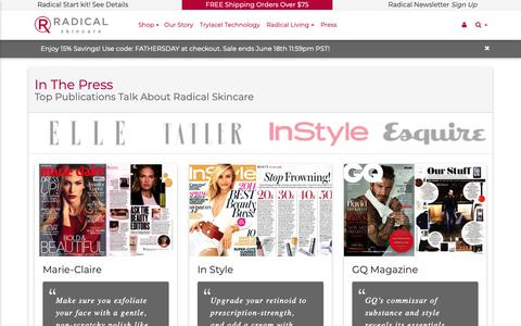 Screenshot of Press Page radicalskincare.com - In The Press - Radical Skincare - Top celebrities and bloggers with results! - captured June 16, 2019