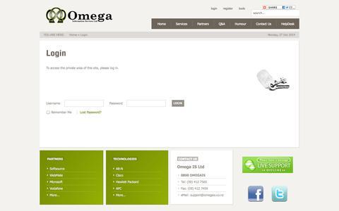 Screenshot of Login Page omegais.co.nz - Login - captured Oct. 26, 2014
