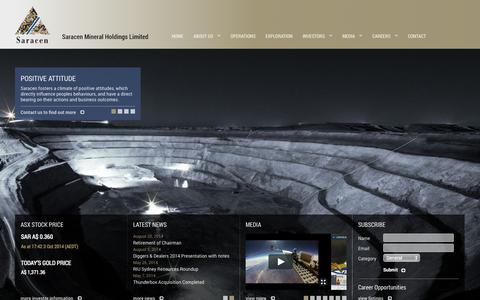 Screenshot of Contact Page saracen.com.au - Saracen Mineral Holdings :: Home - captured Oct. 4, 2014