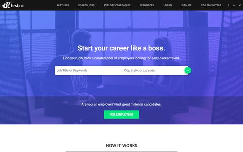 Screenshot of Home Page firstjob.com - Welcome to FirstJob - Your Career Starts Here - captured Jan. 30, 2016