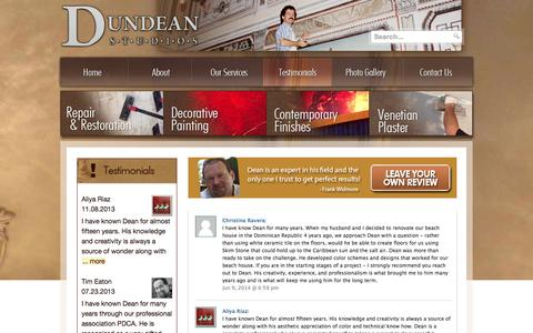 Screenshot of Testimonials Page dundeanstudios.com - Testimonials - To beautify our surroundings is a necessity, not an option. - captured Sept. 30, 2014