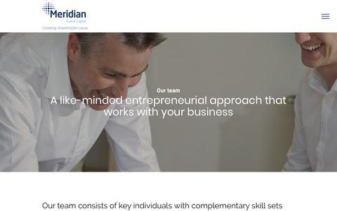 Screenshot of Team Page meridiangc.com - Meridian Growth Capital | Team - captured Oct. 17, 2018