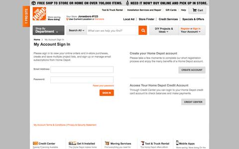 Screenshot of Login Page homedepot.com - The Home Depot - My Account Sign In - captured Jan. 26, 2016