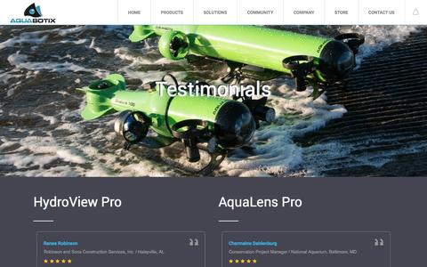 Screenshot of Testimonials Page aquabotix.com - Aquabotix - Testimonials - Aquabotix Technology - captured May 30, 2017