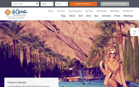 Screenshot of Home Page laquintaresort.com - La Quinta Resort | Palm Springs Hotel | Palm Springs Resorts - captured Oct. 25, 2015